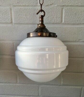 Opaline Glass Pendant Mid Saturn Light with Brass - Rewired Art Deco