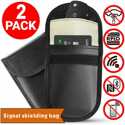 2*Voiture Clé Signal Bloqueur Case Faraday Cage Fob Poche Keyless Blocking Bags