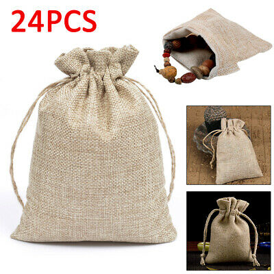 24x Small Burlap Jute Hessian Wedding Favor Bags Xmas Gift Drawstring Sack Pouch
