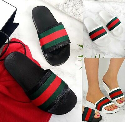 Ladies Womens Flat Striped Slides Sliders Sandals Summer Mules Slippers Shoes Sz
