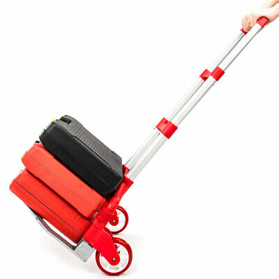 Portable Aluminium Cart Folding Dolly Collapsible Trolley Push Hand Trucks Red