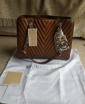 340b3e3190dd New Michael Michael Kors Susannah Chevron Quilted Walnut Leather Handbag  Dustbag