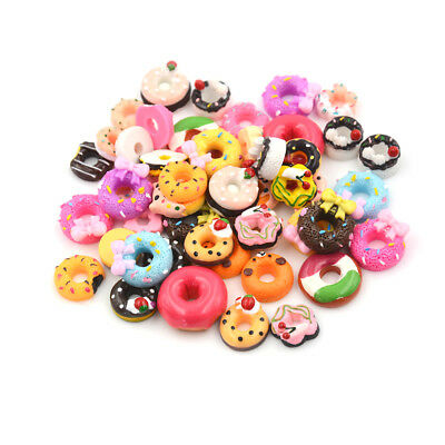 10Pcs DIY Phone Case Decor Crafts Miniature Resin Doughnut Dollhouse Food ES