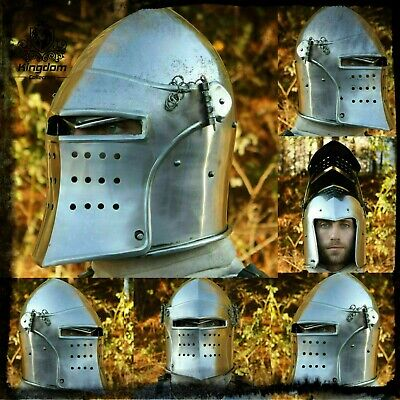 Medieval Flared Visored Barbuta Fighting Combat Helmet Best Gift For Him