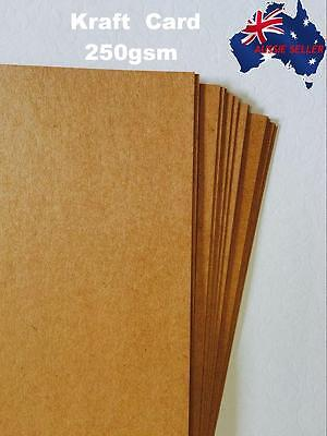 100x A4 Brown Kraft Paper Sheet 250GSM Natural Recycled Invitation Wedding Card