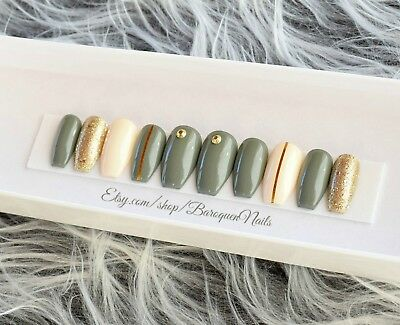 GLOSSY Military Green Press On Nails Gold Accent Nail Art Glue On Fake Nails Gel