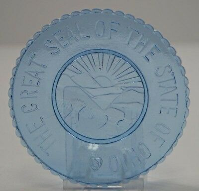 Vintage Great Seal Of State Of Ohio Crystal Art Glass Degenhart-Boyd Cup Plate