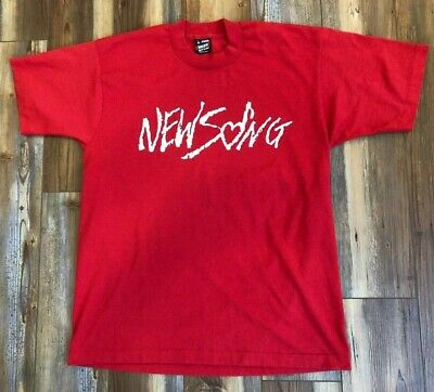 VTG 80s 🔥NEW SONG Single Stitch LARGE Red T-Shirt 50/50 Made in USA