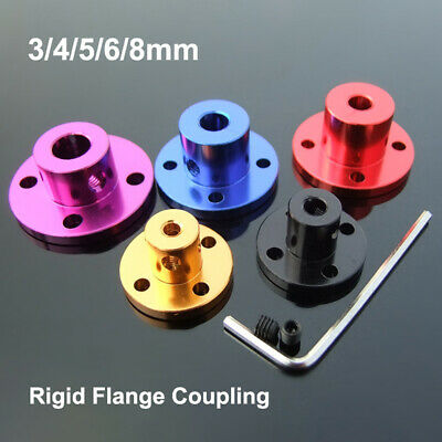 3/4/5/6/8mm Rigid Flange Coupling Shaft Coupler Motor Guide Bearing Al Alloy