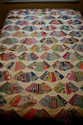 """Vintage Quilt Top Dresden Plate Fan Flower Sack Fabric HAND Stitched 76"""" x 76"""""""