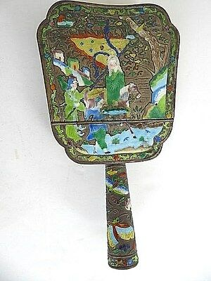 Rare antique Chinese export Canton enamel cloisonne blond woman on horse washer
