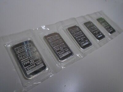 Lot Of 5 Johnson Matthey 1 Troy Oz  0.999 Fine Silver Bar  Consecutive Serials B