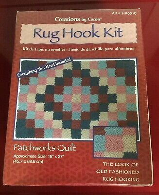 "Caron Rug Hook Kit HR0010 Patchworks Quilt 18""x27"" New Old Stock Nice Kit! LOOK!"