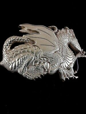 """NICE!! -  """"Large Dragon w/ Young"""" Solid Brass Belt Buckle 1982 Baron Buckles"""
