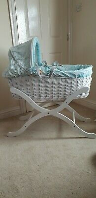 Joules White Wicker Moses Basket