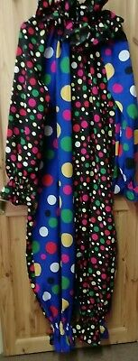 Blue & Black all in one Clown costume 2XL with ruff