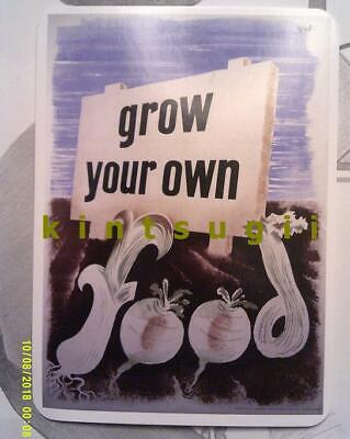 1939 - 1945 UK Grow your own food! vtg WW2 Churchill FDR British Pop Art SALE