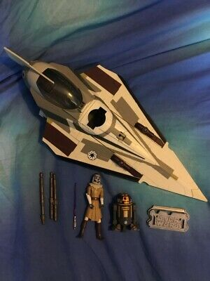 Star Wars Clone Wars Loose Mace Windu's Starfighter With Mace And R8-B7 Complete