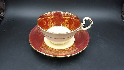 Vintage Aynsley Red with Gold Gilt Flowers Tea Cup and Saucer England
