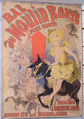 CHERET AFFICHE ANCIENNE  BAL DU MOULIN ROUGE 123x87 cm,  imp: CHAIX cir 1896