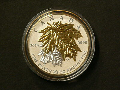 🍁 2014 Maple Leaf Gold Plated 1/2 OZ  $4 Silver 99.99% No Tax #398