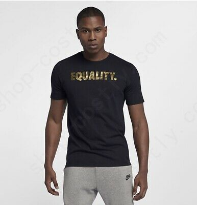 f4f27304a Nike Men's Gold Metallic Equality Dri-Fit T-shirt Black AO8200-010 Size