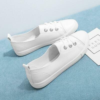 Women Girls Summer Lace Up Flat Pumps Canvas Sneakers Casual Plimsolls Shoes New