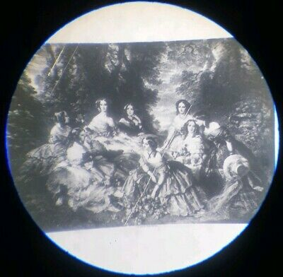 Antique  Microscope Microphotograph Slide Empress & Ladies Of The French Court