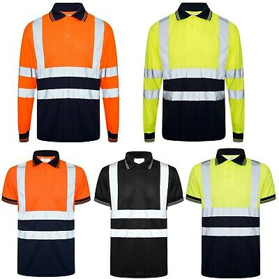 Hi Viz Vis Polo Shirt Two Tone High Visibility Safety Security Reflected Work