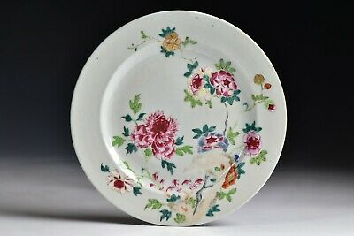 18th Century Chinese Famille Rose Plate with Ruby Enamel Flowers #2