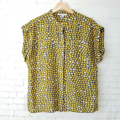 8f7cc0aff98613 Cabi Womens Top Size XS Clover Polka Dot Blouse Gray Yellow 100% Silk  Spring 183
