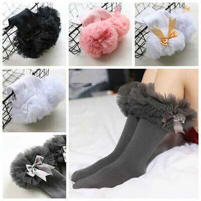 Gorgeous Baby Girls Toddlers Kids Tutu Style Knee High Wedding Party Socks 3m-4y