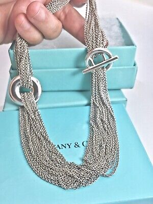 d85ef8976 Tiffany & Co Silver Multi Chain Mesh Circle T Bar Toggle Necklace 17.5