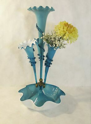 Victorian c. 1890 cased glass, sky blue Epergne with 4 flutes!