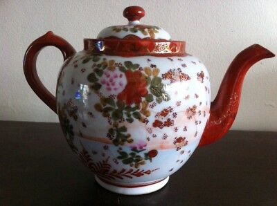 Antique Japanese Signed Hand Painted Teapot With Original Tea Strainer VGC