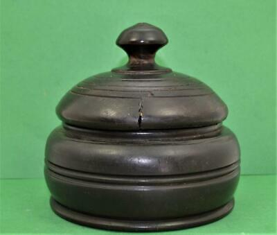Antique Treen Tobacco ? Lidded Box 19 c or earlier beautiful Wood detail