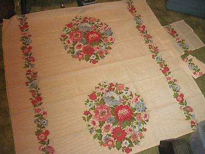 "Long Pink Tablecloth with Bright Floral Design(44""w.x86""lg.) + 4 Napkins.."