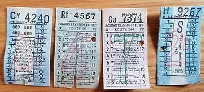 London Transport Buses & Trolleybuses Ticket Stubs X4 1950's?