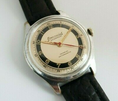 """Vintage 1950's Swiss """"Greenwich"""" Military Watch 17 Jewels Army Movement"""