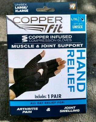 Copper Fit Hand Relief Muscle & Joint Support Compression Gloves L/Xl 1 Pair