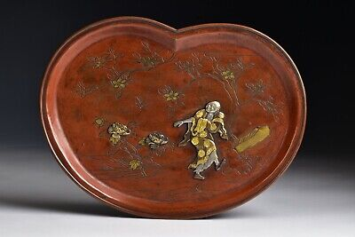 Japanese Meiji Period Mixed Metals Tray with Silver & Gold Man & Flowers