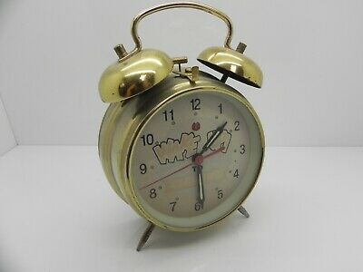 """Vintage / Retro """"Wake Up To Chivers"""" Wind Up Alarm Clock Brass Frame"""