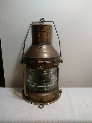 Large Vintage Brass Anchor Ship Oil Lantern