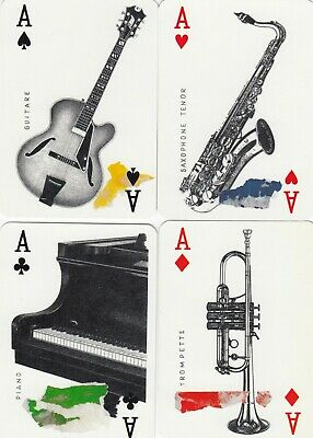 ACE of SPADES & SUIT ACES - JAZZ  - 4 single vintage playing cards !