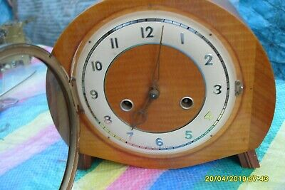 MANTEL CLOCK  SMITHS STRIKING   CLOCK  key and  pendulum