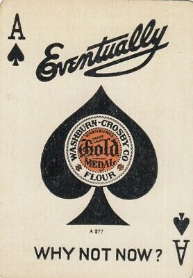 ACE of SPADES - Eventually Gold Medal - 1 wide single vintage playing cards !