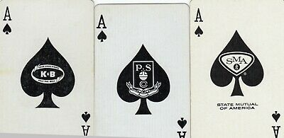 ACE of SPADES - 3 old  single vintage playing cards !