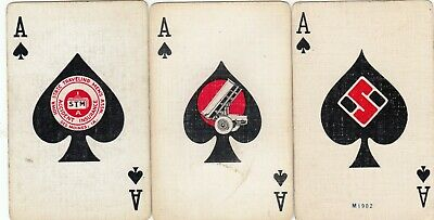ACE of SPADES --  3 old  linen single vintage playing cards !