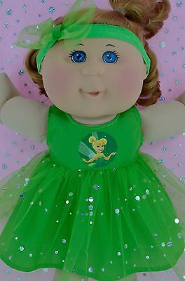 """Play n Wear Doll Clothes For 14"""" Cabbage Patch  LIME SEQUIN DRESS~HEADBAND"""