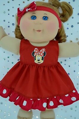 """Play n Wear Doll Clothes To Fit 14"""" Cabbage Patch POLKA DOT/RED DRESS~HEADBAND"""